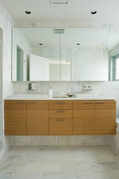 Cool Custom Marble Tile Bamboo Cabinetry Contemporary Bathroom Vanity Furniture In Small Shaped For Home Inspiration