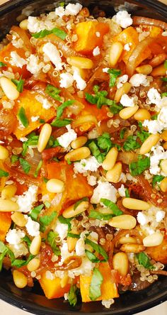 Quinoa Salad with Roasted Butternut Squash, Pine Nuts, Caramelized Onions and Feta cheese, with French Vinaigrette salad dressing Vegetarian Recipes Easy, Good Healthy Recipes, Healthy Cooking, Whole Food Recipes, Healthy Eating, Cooking Recipes, Keto Recipes, Side Recipes, Dinner Recipes