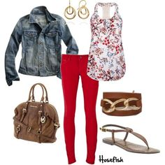 """Red Skinnies"" by hosefish on Polyvore"