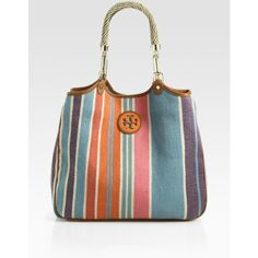 Tory Burch Baja Channing Striped Canvas Tote ($295) ❤ liked on Polyvore