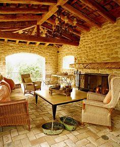 outdoor loggia - rustic - exterior - phoenix - Don Ziebell Rustic Patio, Rustic Exterior, Interior Exterior, Exterior Design, Rustic Wood, Cozy Patio, Rustic Stone, Rustic Outdoor, Rustic Decor