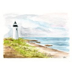 Lighthouse by the Sea Original Watercolor Painting - Ocean Seascape Art - Maine Inspired - Watercolor Colored Pencil - Gift Under 50 Beach Watercolor, Watercolor Pictures, Watercolor Ideas, Watercolour, Lighthouse Drawing, Easy Canvas Painting, Watercolor Landscape Paintings, Color Pencil Art, Seascape Paintings