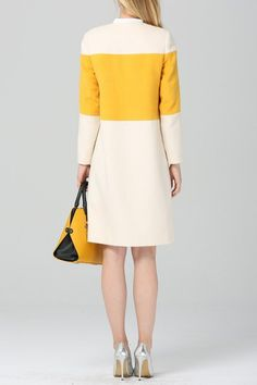 Wool Blend Color Block Coat - WHITE AND YELLOW 2XL