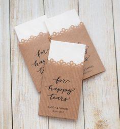 Tissue Wedding Favours kraft paper - For happy tears -  Tears of Joy - Unique Tissue Wedding Favors - Personalized Wedding - Ceremony Tissue