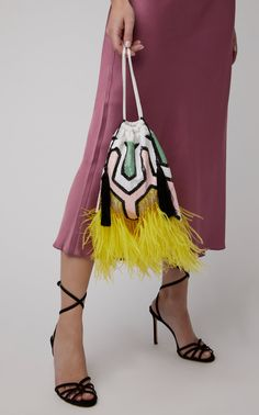 Mini Feather-Embellished Sequined Pouch by ATTICO Now Available on Moda Operandi Beautiful Handbags, Beautiful Bags, Fancy Earrings, Fashion Bags, Womens Fashion, Fringe Bags, Embroidered Bag, Linen Bag, Bag Patterns To Sew