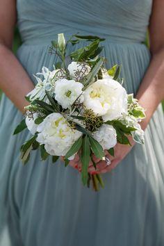 Organic Bridesmaid Bouquet of peonies, ranunculus & greenery, Photo: Ann & Kam Photography