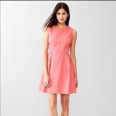 359dda0ac0 Gap Pink Linen Dress Fit Flare Dress