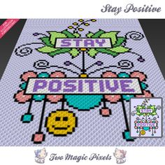 Stay Positive crochet blanket pattern; c2c, cross stitch; graph; pdf download; no written counts or row-by-row instructions by TwoMagicPixels, $2.99 USD