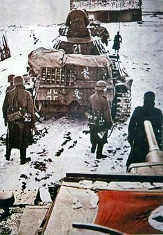 11th Panzer Division on the way to Moscow, Winter of 1941 by GLORY. The largest archive of german WWII images, via Flickr