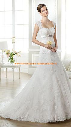 Bodenlange Elegante Brautkleider 2013 aus Softnetz mit Applikation
