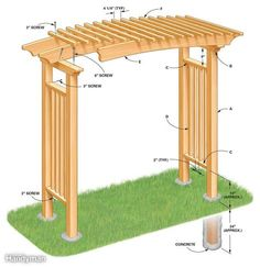The pergola kits are the easiest and quickest way to build a garden pergola. There are lots of do it yourself pergola kits available to you so that anyone could easily put them together to construct a new structure at their backyard. Diy Pergola, Diy Arbour, Building A Pergola, Pergola Swing, Cheap Pergola, Wooden Pergola, Outdoor Pergola, Pergola Shade, Pergola Ideas