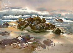 Surf at 17 Mile Drive-Pebble Beach, a watercolor painting by Art Riley – California Watercolor Watercolor Logo, Watercolor Paintings, Watercolor Paper, Artist Art, Artist At Work, Dune Art, Bell Art, Disney Artists, Art Folder