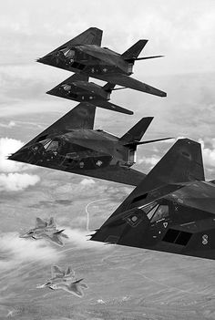 Military Aircraft - F117 Night Hawk and F22 Raptors U.S. Air Force