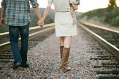railroad family session, baby suspenders, plaid shirt, cream dress, brown boots, outdoor family session // Acres of Hope Photography