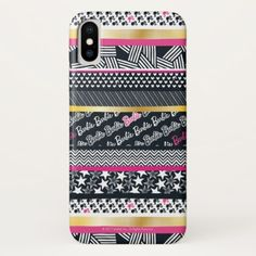 Barbie | Modern Stars & Stripes Pattern iPhone X Case - patterns pattern special unique design gift idea diy