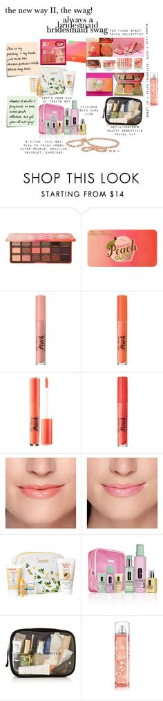 """""""the new way II, the swag"""" by caroline-buster-brown ❤ liked on Polyvore featuring Too Faced Cosmetics, Burt's Bees, Clinique, Post-It and alwaysabridesmaid"""