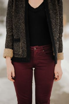 Burgundy coloured jeans and grey fall jacket