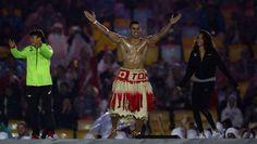 Tonga's flag bearer is back, and he's shirtless