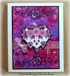 Mackintosh Hearts (by Shirley) - I used a Gelli Plate print for the background below: