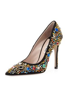 Miu Miu jeweled point-toe pump, for when you're feeling extra saucy.