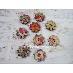 10 bottoni legno fiore dipinti charm 20 mm bigiotteria 2 fori colori misti