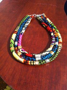 Multi colored wax print Dutch wax african tribal kitenge chitenge ankara fabric bib statement rope necklace