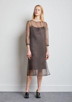 82e3f95f84aa Didion Organza Dress Organza Dress, Silk Organza, Office Looks, Sleeve  Designs, Bateau