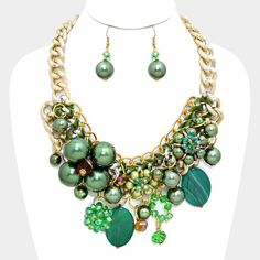 Green Tangled Chunky Pearl&Metallic Ball Necklace • Color : Green • Theme : Pearl • Necklace Size : 17″ + 3 1/2″ L • Decor Size : 3 1/2″ L • Earrings Size : 2 1/4″ L Jewelry Necklaces