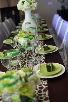 Green and brown animal print table decorations- @Karen Darling Space & Stuff Blog Watson