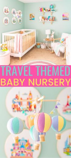 This Travel Themed Nursery is filled with simple and stylish inspiration for a baby girl's room! With custom pieces, modern furniture, and global decor! Travel Theme Nursery, Baby Girl Nursery Themes, Themed Nursery, Rainbow Nursery Decor, Nursery Room, Nursery Ideas, Bedroom, Lila Kindergarten, Lilac Nursery