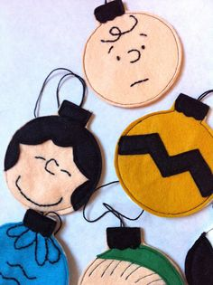 Charlie Brown felt ornaments.