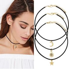 Star Moon Sun Chokers Necklaces Pendants Maxi Necklace Sets For Women Black Velvet Steampunk Colar One Direction 2017 Black Velvet Choker Necklace, Black Leather Choker, Silver Chain Necklace, Collar Necklace, Necklace Set, Choker Necklaces, Bracelets, Choker Outfit, Star Pendant