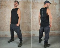 Ninja Pants and Harem Pants Unisex Cyberpunk Post Apocalyptic Clothing Men and Drop Crotch Pants Samurai The Rib Low Crouch Pant unites apocalyptic Design with functionality. The rib stitching brings a tougher look. The stocking extends this look and is also super comfy and handy at the same time. Post Apocalyptic Clothing, Cyberpunk Clothes, Plus Size Kimono, Drop Crotch Pants, Stretch Belt, Rave Wear, Beautiful Islands, Festival Outfits, Samurai