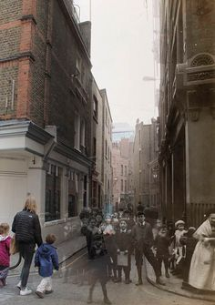 Sandy Row - Photos around Spitalfields, a century apart, but blended together. (In a similar manner, I always move around imagining the past is still alive, but just beyond our view.)     From photographer Adam Tuck, for 'Spitalfields Life' (click through for many more). See http://spitalfieldslife.com/2012/12/05/a-walk-through-time-in-spitalfields/