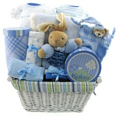 Minky Dots Personalized Baby Boy Gift Basket - http://www ...