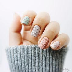 Sweater Nails Are the Coziest Kind of Nail Art We've Ever Seen via Brit + Co