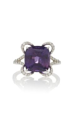 One-Of-A-Kind Cushion Cut Purple Sapphire Ring by Martin Katz Fall Winter 2018