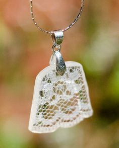 White Lace Necklace delicate lace cast in resin by DreamHalfFull
