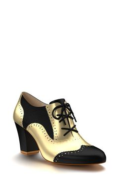 Women's Shoes of Prey Metallic Oxford Bootie, Size