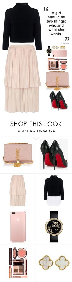"""sleek n sheek"" by sleeknsheek ❤ liked on Polyvore featuring Yves Saint Laurent, Christian Louboutin, River Island, Theory, Charlotte Tilbury, Van Cleef & Arpels and Cartier"