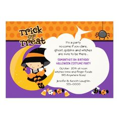 Witch on the Moon Halloween Birthday Personalized Invitation