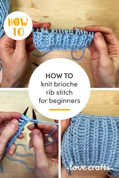 Learn the basics of brioche stitch with our handy guide and video tutorial. We will show you how to do a simple brioche rib stitch! | Learn more at LoveCrafts.com Knitting Stitches, Knitting Needles, Knitting Patterns, Different Stitches, Learn How To Knit, Paintbox Yarn, Chunky Yarn, Slip Stitch, One Color