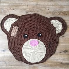 Crocheted bear rug for nursery of children's room by KNUFL on Etsy