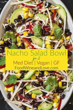 This Vegan Delicious and Easy Nacho Salad Bowl for Two can be made gluten free as well. It is fresh and perfect for sharing. Nachos, Fall Recipes, Wine Recipes, Simple Recipes, Nacho Salad, Quinoa, My Favorite Food, Favorite Recipes, Homemade Pita Bread