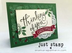 Stampin Up! Thinking of You at Christmas combines This Christmas Designer Series Paper and the Time of Year Photopolymer Hostess Set  | Just Stamp