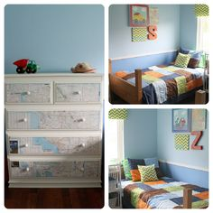 DIY Kids room decor 3 space #BudgetTravel. This kids-styled bedroom is complimented with furniture and flooring that provides enough contrast to be visually appealing and still be playroom friendly.