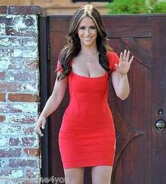 Celebrity Sexy Red bodycon bandage dress cocktail evening party short sleeve