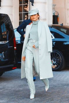 Zendaya Stuns in Mint Monochrome & Mary Poppins-Inspired Loo.- Zendaya Stuns in Mint Monochrome & Mary Poppins-Inspired Looks Zendaya Slays Paris Fashion Week in Mint Monochrome and Mary Poppins-Inspired Looks Mode Zendaya, Zendaya Outfits, Zendaya Style, Mode Outfits, Fashion Outfits, Zendaya Fashion, Zendaya Makeup, Zendaya Hair, Fashion Clothes