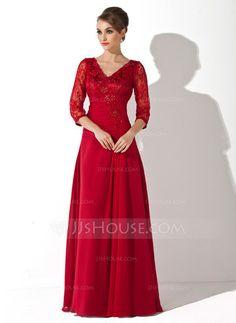 Corte A/Princesa Escote en V Hasta el suelo Chifón Encaje Vestido de madrina con Volantes Bordado Lentejuelas (008006076) - JJsHouse