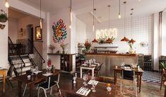 HOTSPOTS BERLIN: BOSCO is an italian restaurant in Berlin Kreuzberg with a lovely interior design! Love the industrial copper lighting <3 #berlijn #interieur #industrieel #koper